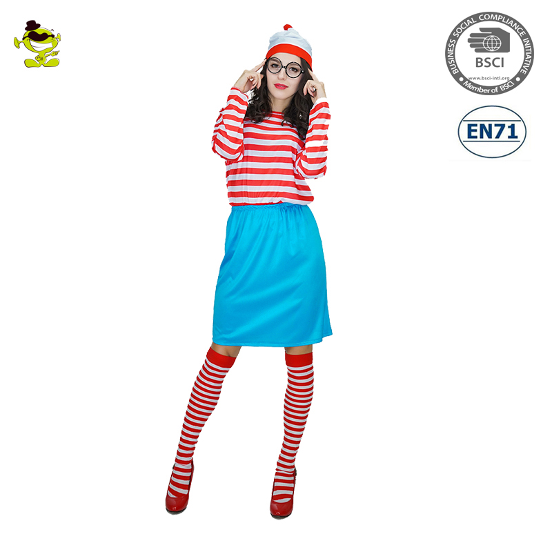 Where's Wally Waldo TV Cartoon Stag Night Outfit Adult women Fancy Dress Halloween Costume