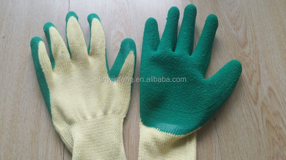 Five string of 10 Guage Natural Latex Wrinkle Coated Working Safety Gloves