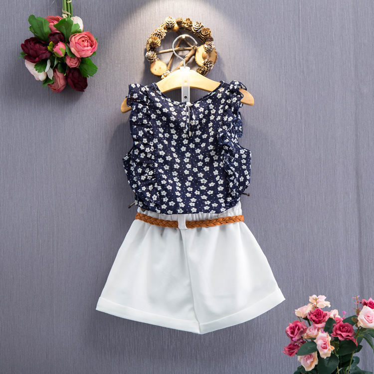 popular selling 2018 little girl flora printed t-shirt and white shorts 2 pieces kids set