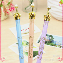 logo printed customized function big metal crown design ballpoint pen without clip free sample