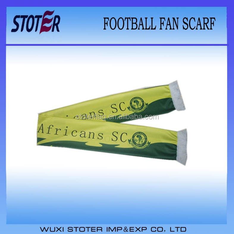 world championship digital printing football scarf with fringes