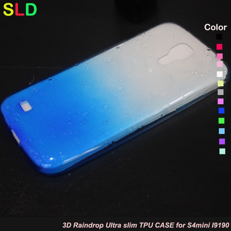 3D raindrop ultra slim case for samsung s4 mini i9190/i9192/i9195/i9198