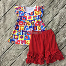 Yi wu the latest little girls' many emoji pics outfits wholesale boutique children's clothing