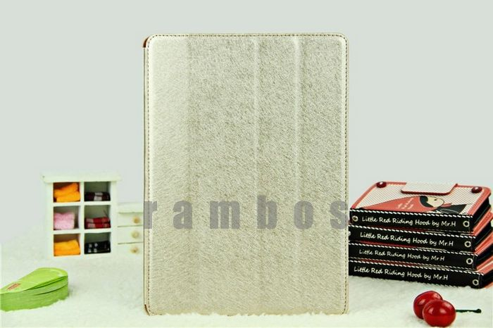 Ultra Thin Silk Lines Pattern Design Flip Fold PU Leather Case with Stand Protective Cover for iPad Air 5