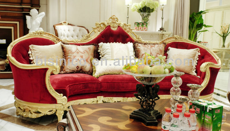 Palace royal living room three-seat sofa covered by red lint
