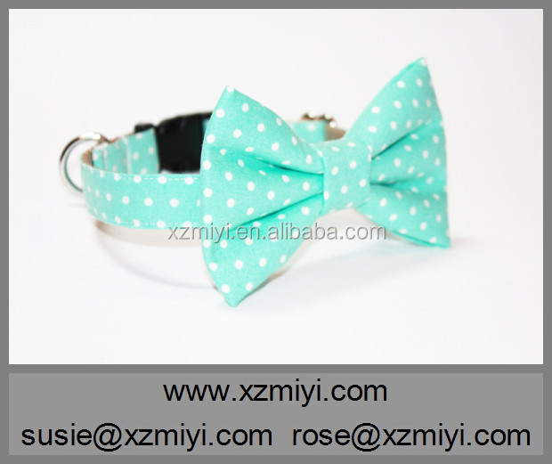 Various Sizes&Colors Nylon Foam Padded Green Polka Dot Dog Collar With Nice Bow Tie