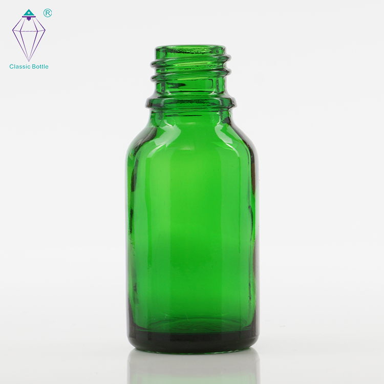 15ml empty green essential oil glass bottles with electrochemical aluminum covers