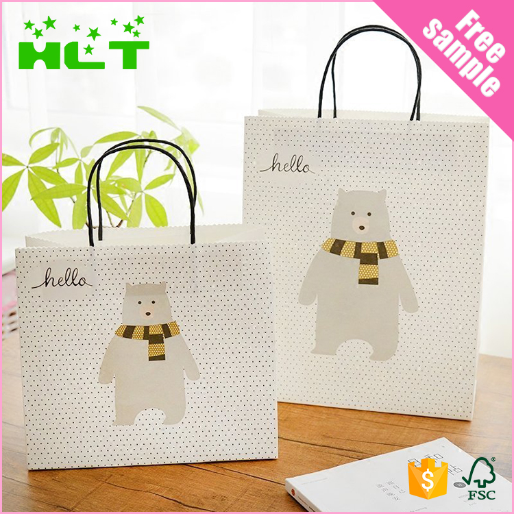 Custom cute white kraft shopping paper bag printing with window