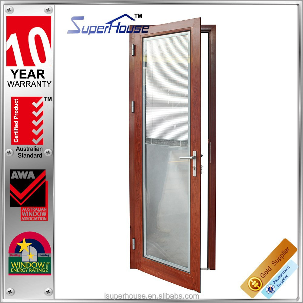 Aluminium framed wooden color insulated single door design for bedroom balcony