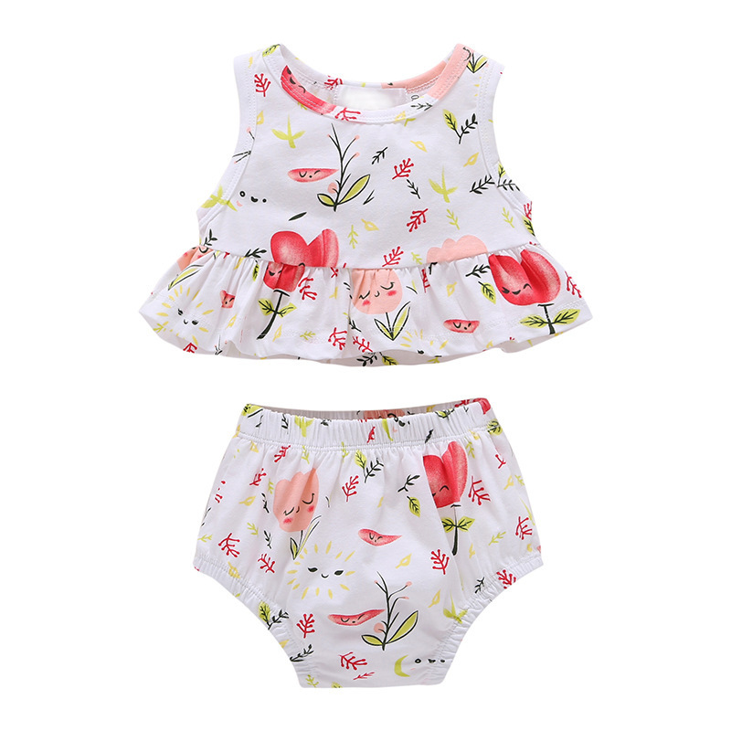 S33490W Girls Summer Sets 100% Cotton 2017 Baby Girls Floral Clothing Sets