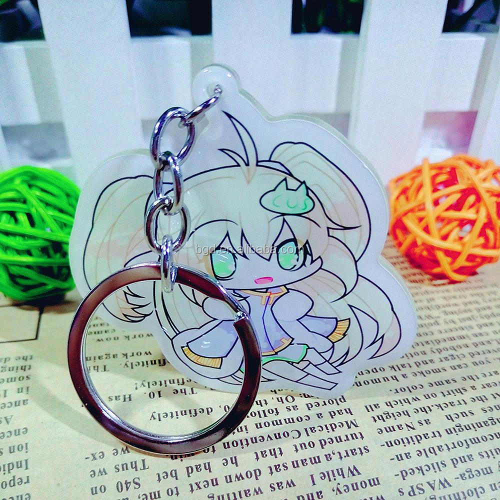 Wholesale 2017 Yiwu cheap acrylic keychain custom design OEM blank mobile phone cartoon anime key chains for promotional gift