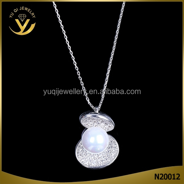 Fashion 18k Austrian AAA zircon 925 sterling sliver pearl necklace for lady