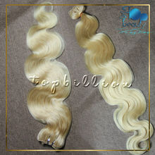 "Large stock could ship once payment done 100% cuticle stay 14"" -30"" platinum blonde color 613 body wave hair"