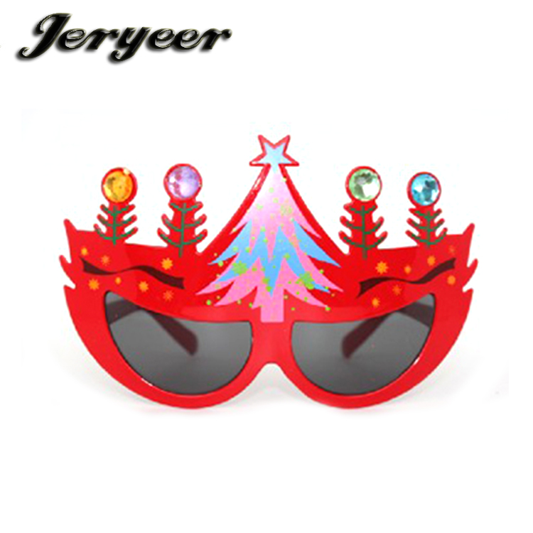 Promotiom cheap happy new year glasses party supplies glasses red frame champagne Christmas Glasses