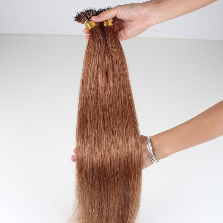 Double drawn full cuticles nano ring 100% remy hair extensions