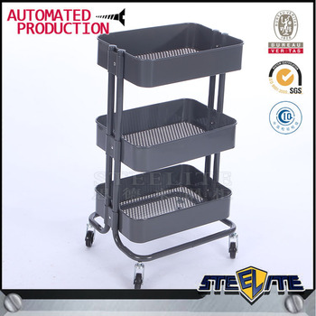 Gray Recollected 3-Tier Rolling Cart trolley with casters