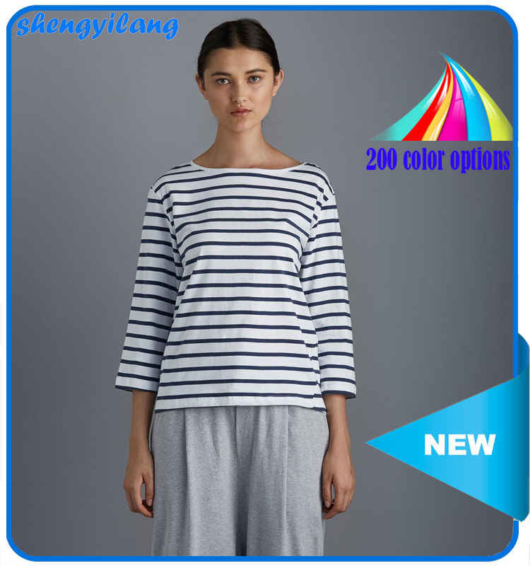100% cheap blank tshirts wholesale, custom striped t-shirt boat neck 3/4 sleeve t-shirt for women guangzhou manufacturers