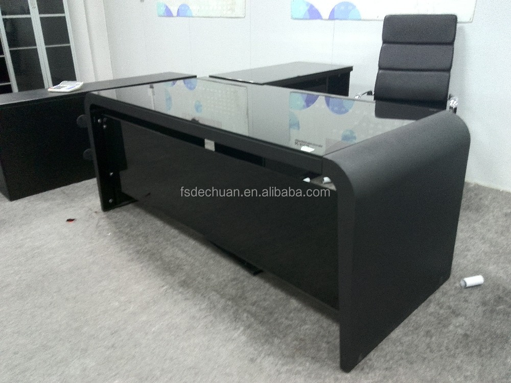 L Shaped wooden executive office furniture computer desk