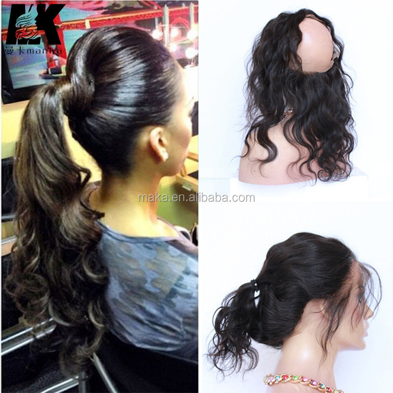 360 Lace Frontal Closure Brazilian Virgin Hair Body Wave Natural Hairline Lace Band Frontal Closure With Baby Hair