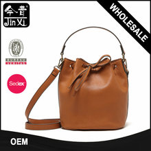 Factory wholesale Europe fashion PU leather drawstring bags bucket handbags for women