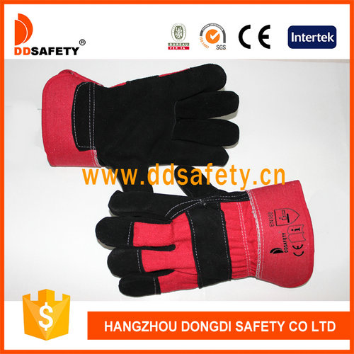 DDSAFETY Black Cow Split Leather Glove With Rubberized Cuff