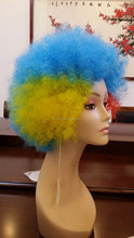 Halloween cheap party afro wigs colorful christmas cosplay hairs custom color team new brazil football sports fans wigs