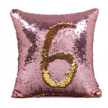 Hidden logo mermaid sequin decorative throw pillows custom cushion cover