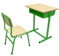 Green frame school desk for single seat separate, single seat student desk chair detached
