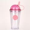 Mlife good quality multicolor options double layer 16oz/480ml clear AS/acrylic plastic straw cup with straw and round cap