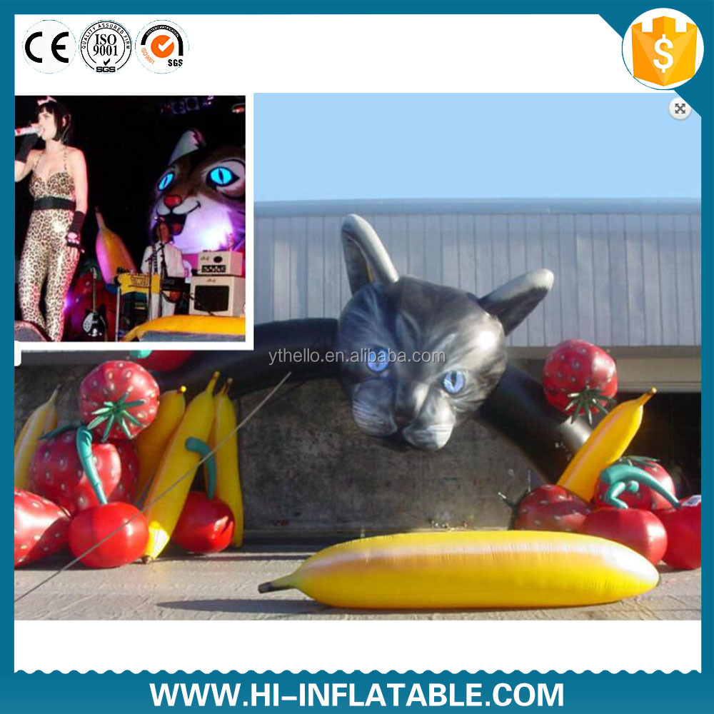 Popular Lovely Decoration Giant Inflatable Cat animal mascot cartoon For stage decoration