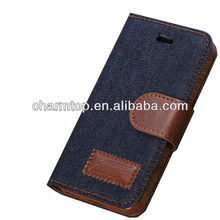 Jeans Style Leather Wallet Case For Apple iPhone 5C