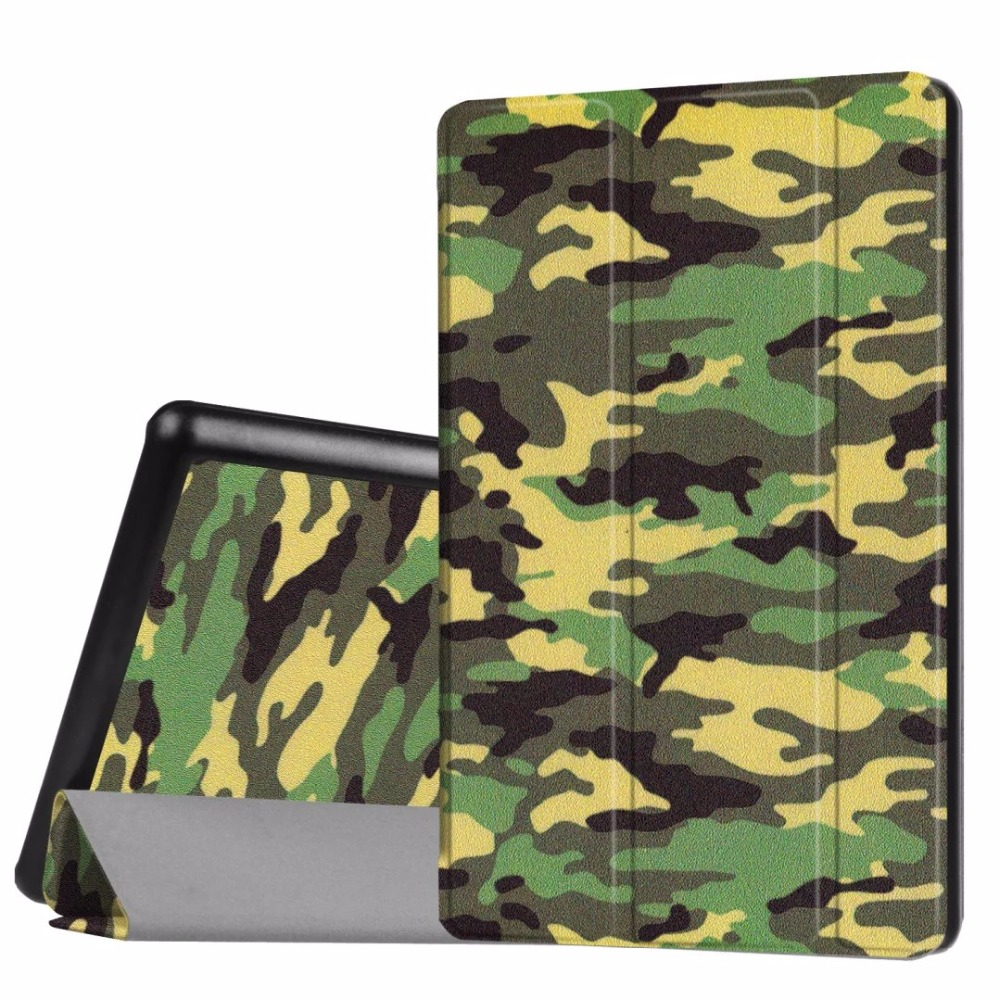 Colorful Painting Book Stand Case For New Kindle Fire HD8 2016 Three Folds Flip Cover
