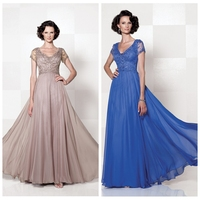 4 color choose v neckline long sex mother of the bride dress