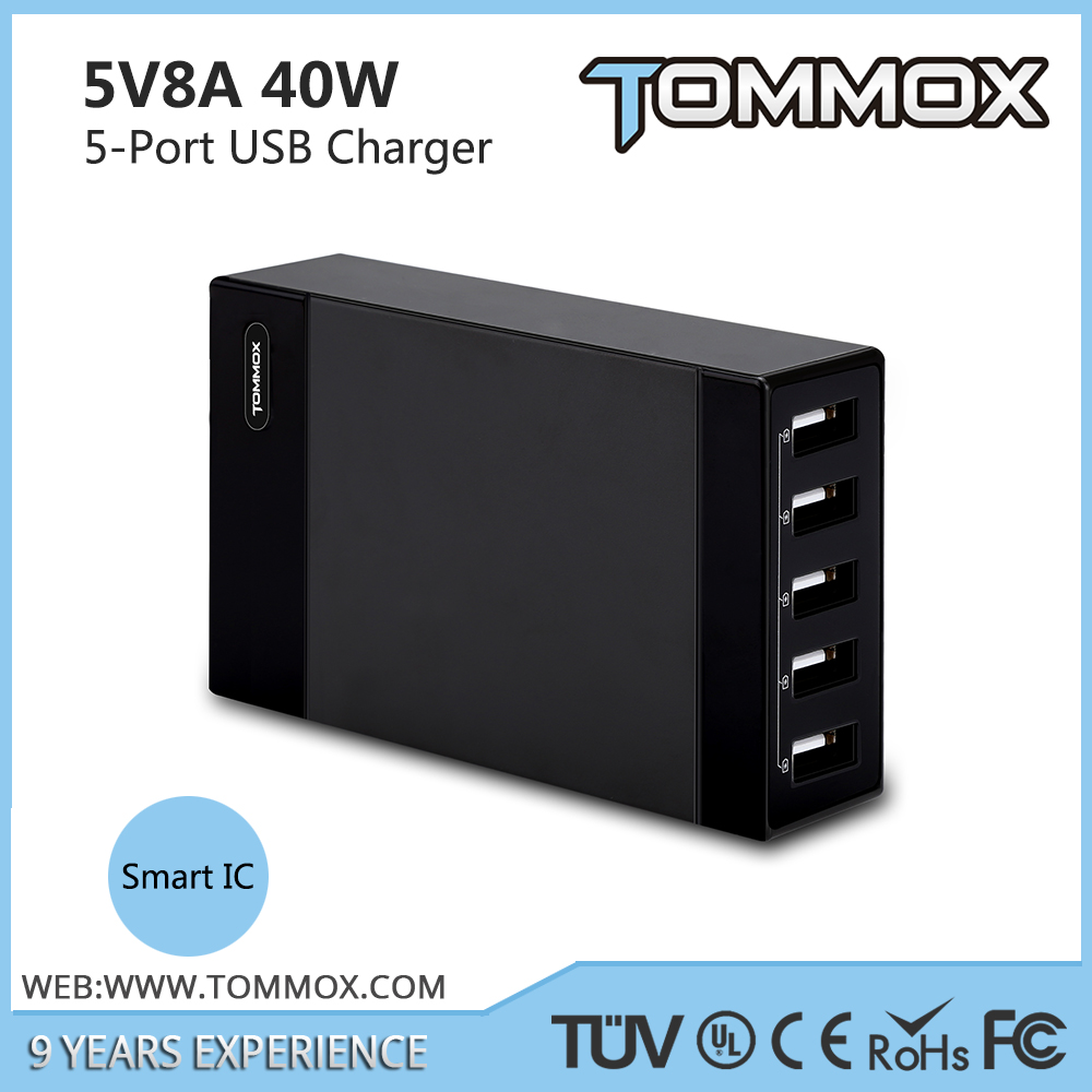 Intelligent charging smart IC tablet docking station usb,5-port usb charger