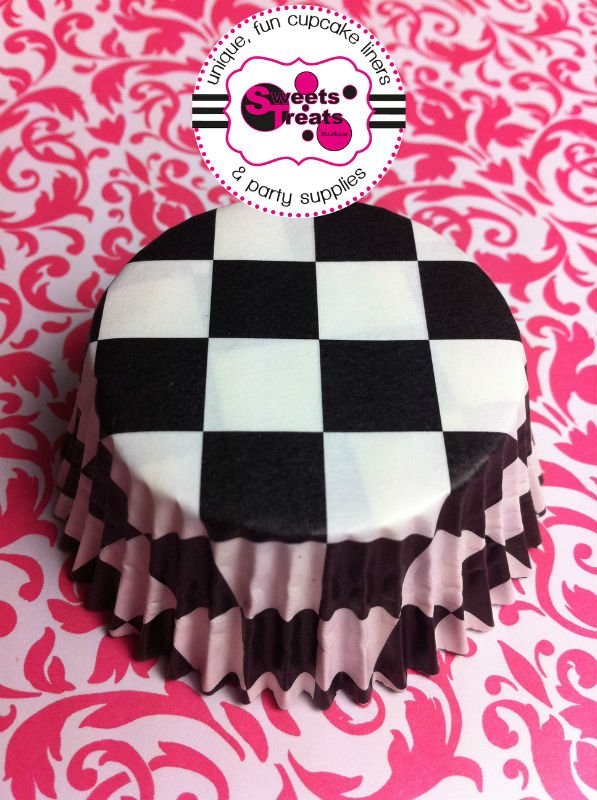 Black Checkered Greaseproof Cupcake Liner Baking Cup