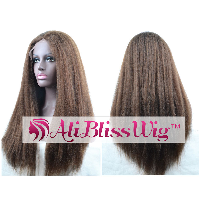 Wholesale Cheap 130% Density Kinky Straight Color #4 Brown Glueless Italian Yaki Human Hair Lace Front Wig