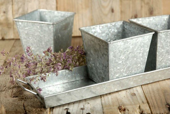 Galvanized Garden Planter, Flower Planter, Outdoor Planter