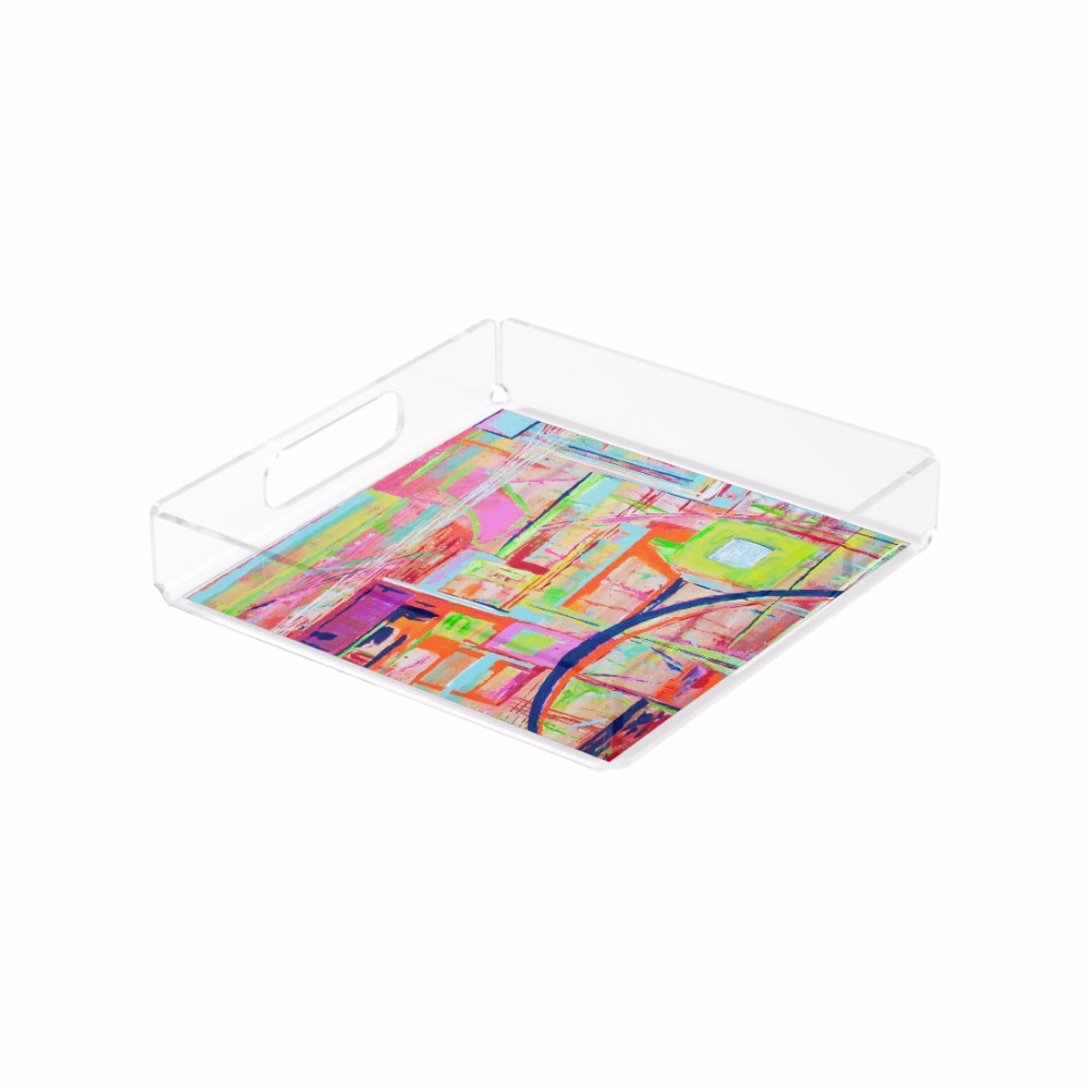 Factory Custom Square Clear Acrylic Tray Lucite Serving Tray with Insert and Handles