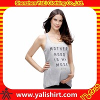 High quality small quantity print scoop neck cotton/spandex soft singlets wholesale maternity clothing