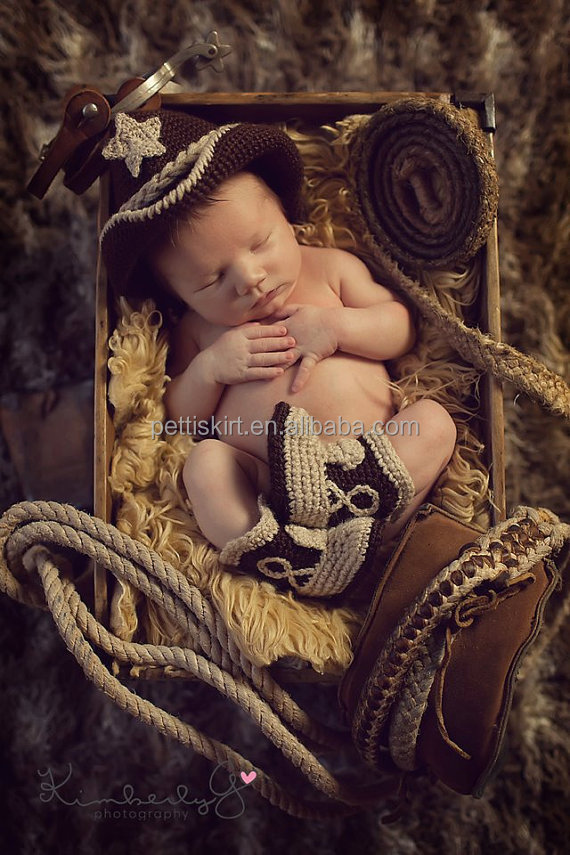 Newest style crochet cowboy set baby clothes