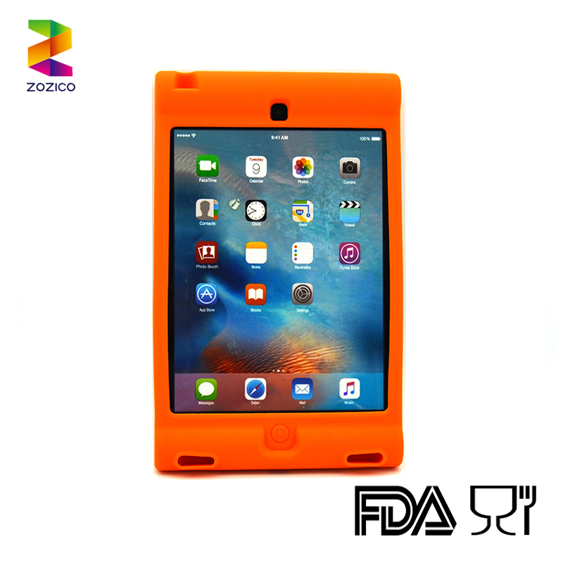 For iPad Mini 4 Shockproof Easy Cleaned Silicone Tablet Case Integrated stand Cover