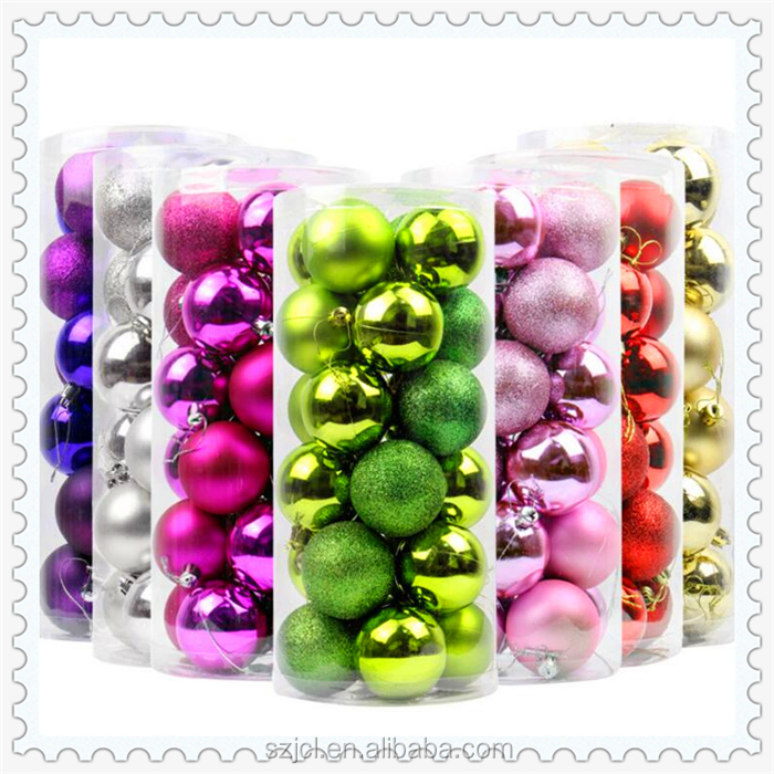 Christmas Decoration Supplies Type Colorful Plastic Ball Custom Christmas Tree Ball Ornament