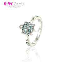 Brand New Fashion Light Zircon Stones Paved Turtle On Top Value 925 Silver Ring For Girls