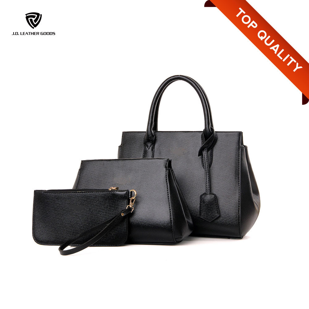 Black PU Three Sets Handbag Ladies Handbag Franchise