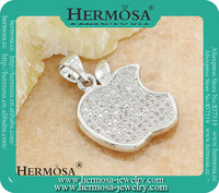 In Stock Products Trendy 925 Sterling Silver Micropave Setting Apple Style White Topaz Pendant