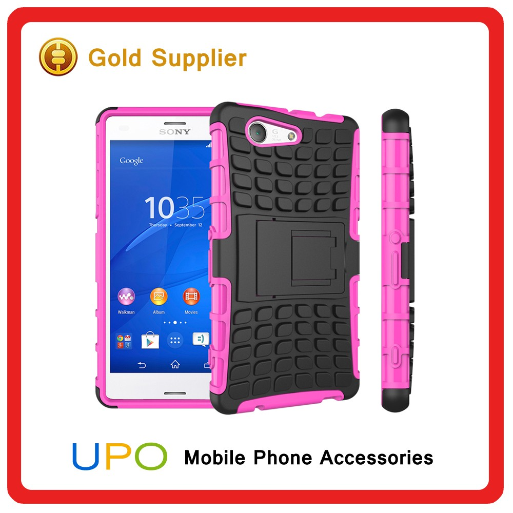 [UPO] Dual Layer Tough Rugged Kickstand Hard Plastic Case for Sony Z3 mini,Phone Case Covers for Sony Xperia Z3 compact