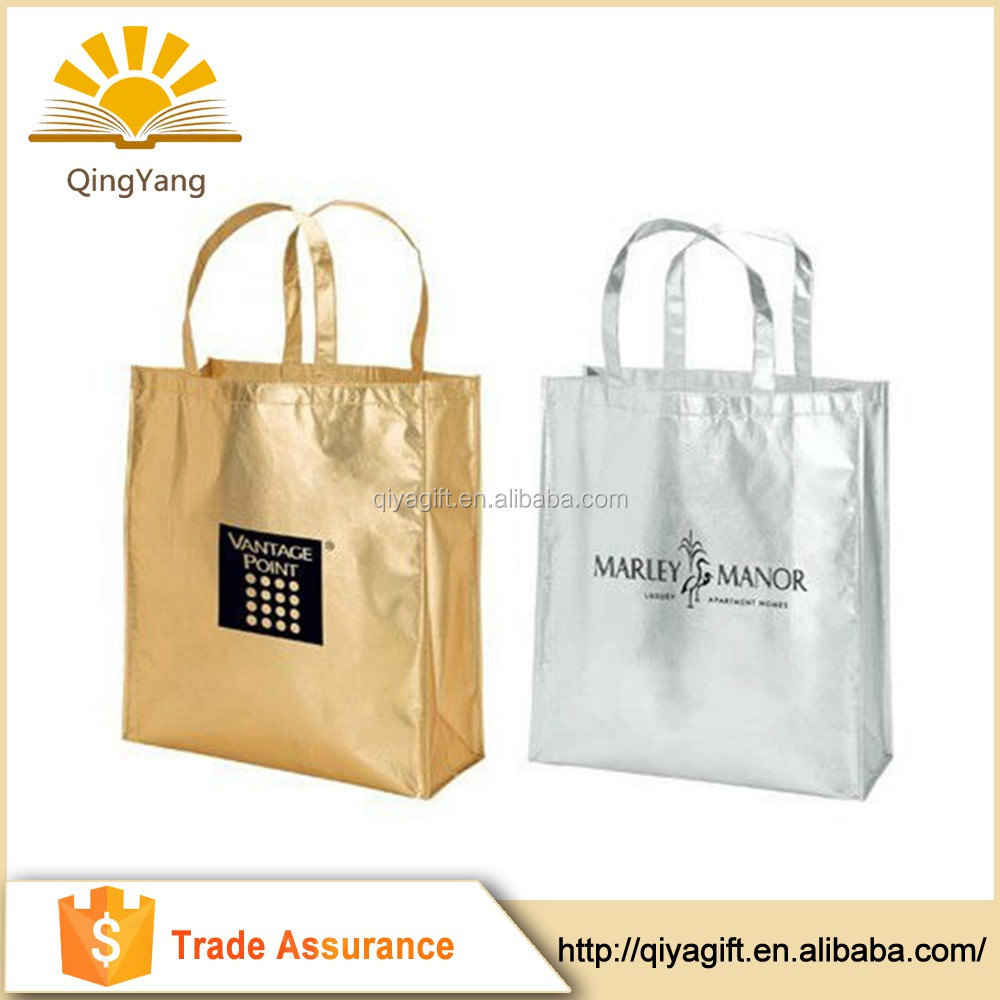 Foldable shopping boutique laminated metallic non woven bag