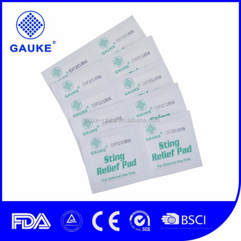 Medical Disposable Sting Relief Pad With CE/ISO Certification