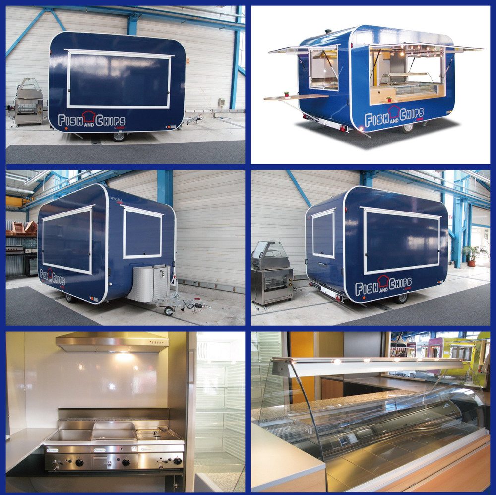 Round Fiberglass High quality mobile food van for sale