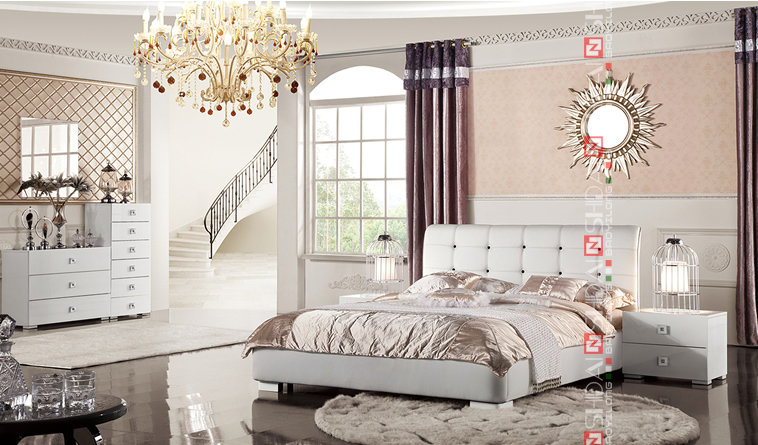 B9023 big headboard fancy beds new design double bed for Double bed new design
